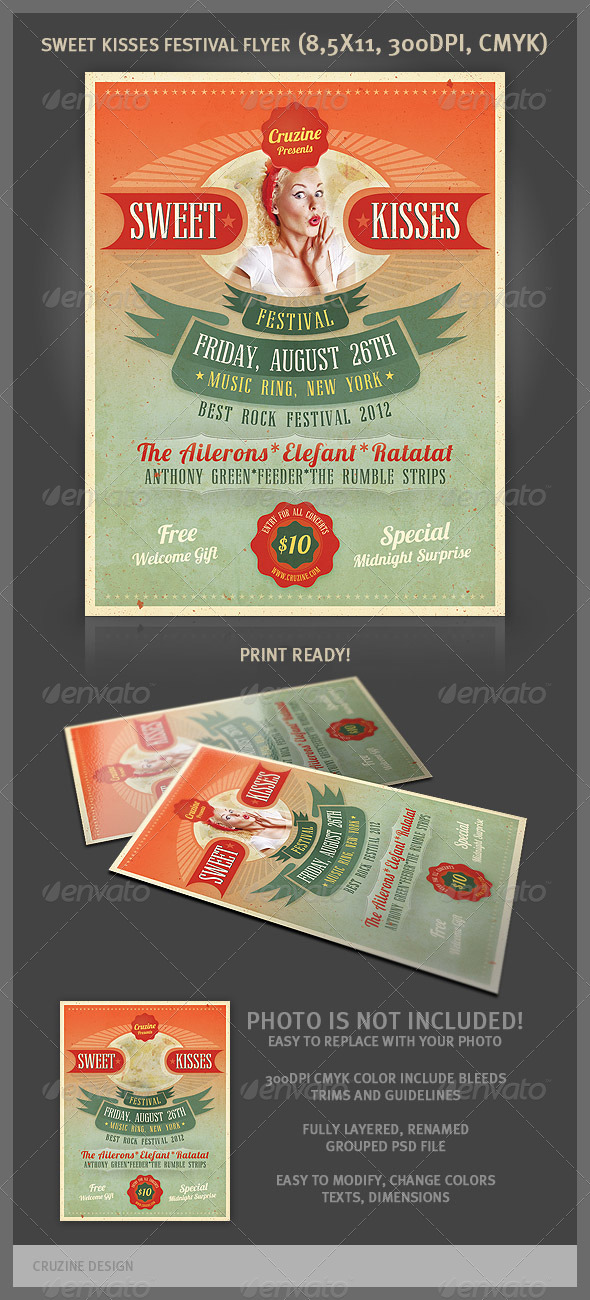GraphicRiver Sweet Kisses Festival Flyer 2525353