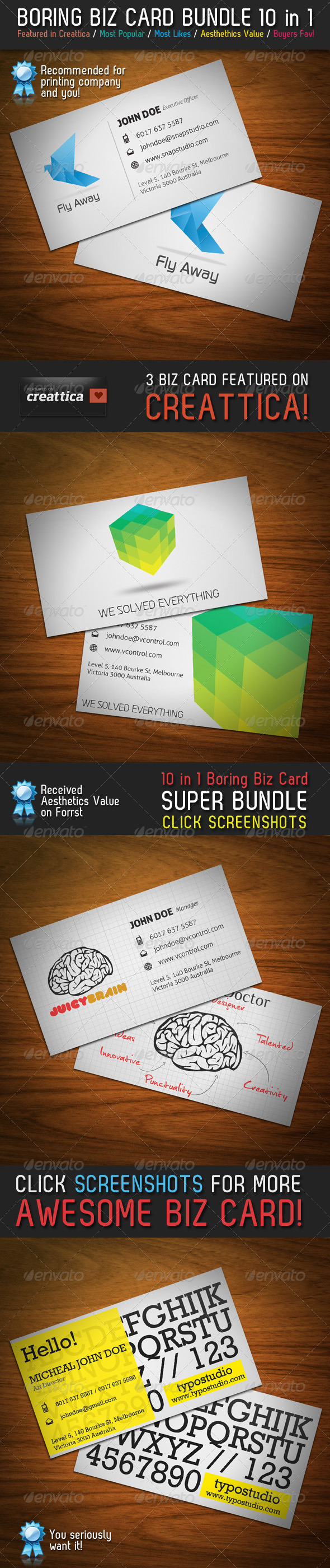 GraphicRiver Boring Business Card Bundle 10 in 1 282975
