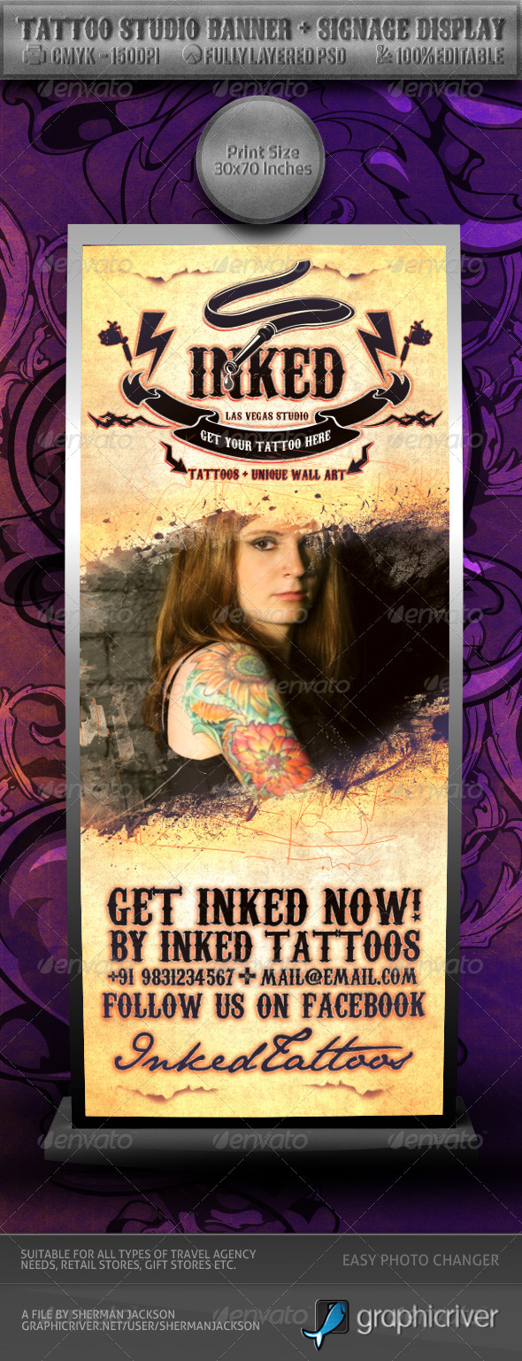 GraphicRiver Tattoo Studio Banner & Signage Display 2527379