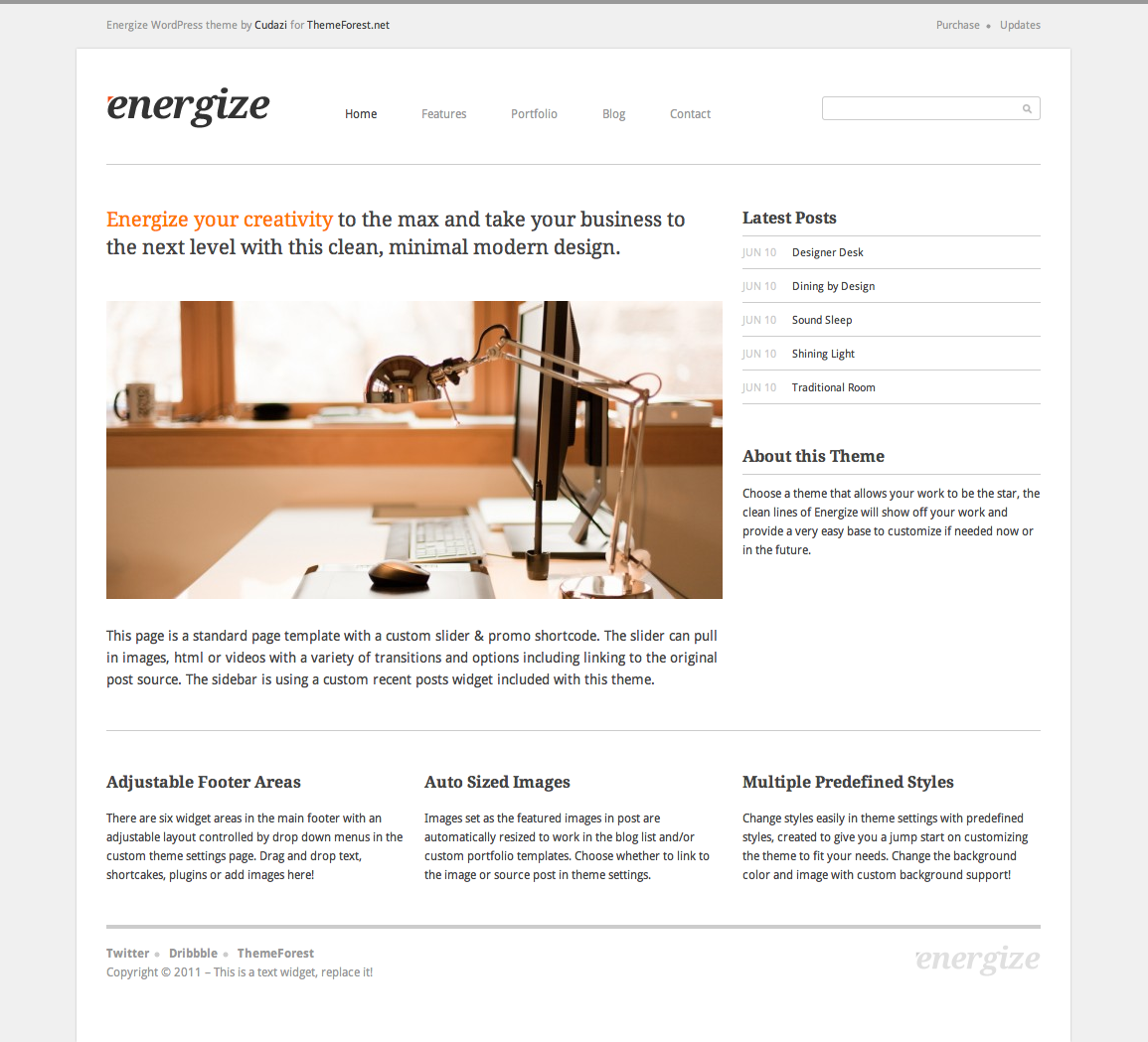 Energize - Clean Creative WordPress Portfolio 1