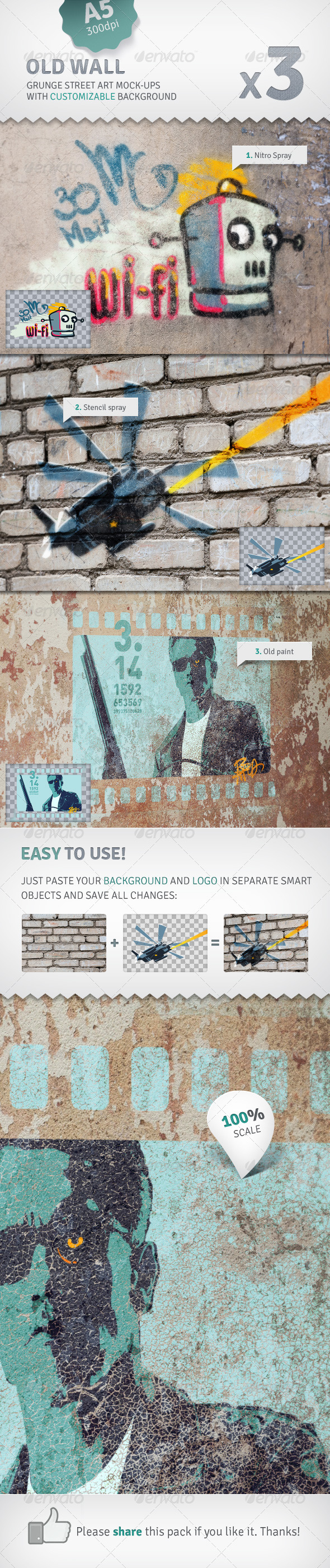 GraphicRiver Wall 3 Graffiti Street Art Mockups 2529449