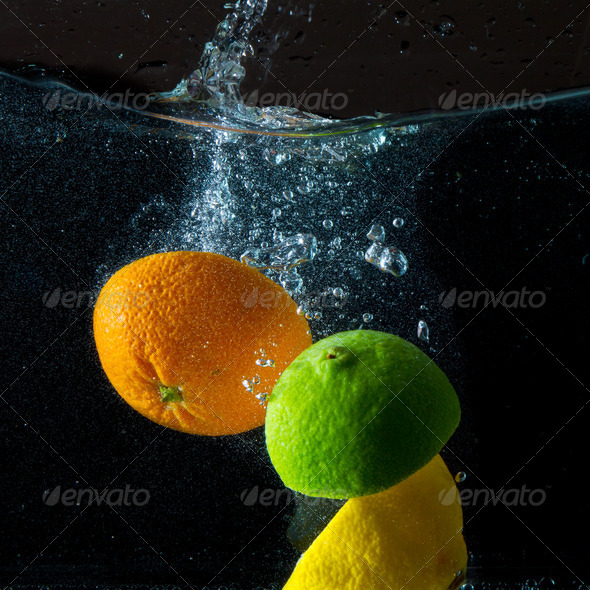 fruit splash - Stock Photo - Images