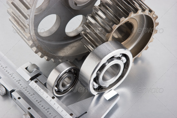 gears and bearings with calipers - Stock Photo - Images
