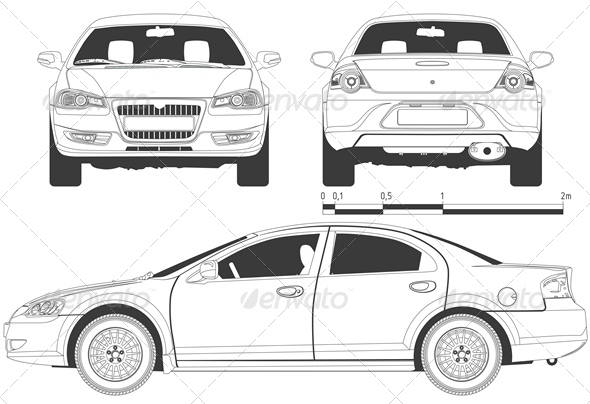 Vector modern car drawing graphicriver for Medidas de un carro arquitectura