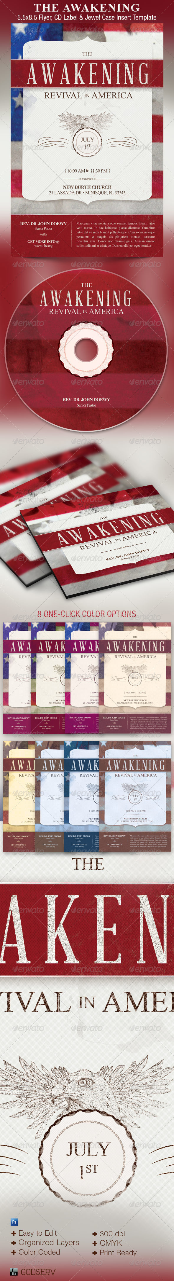 The Awakening Revival Church Flyer and CD Template - Church Flyers
