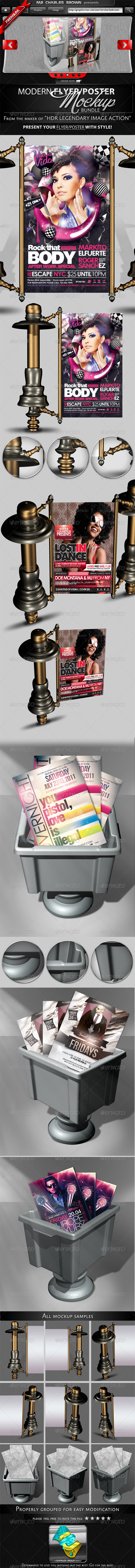 Modern 3D Flyer and Poster Mockup Bundle - Flyers Print