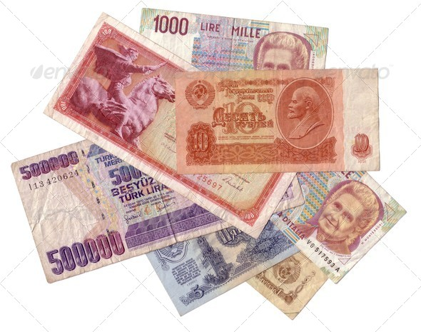 Obsolete money texture isolated - Stock Photo - Images
