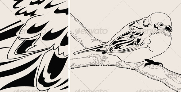 Hand drawn sparrow bird on a branch - Animals Characters