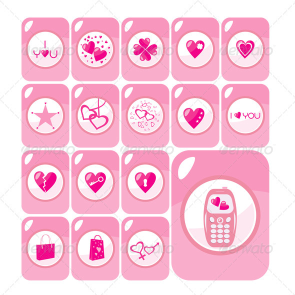 Vector Valentine Love Icons Buttons - Objects Vectors