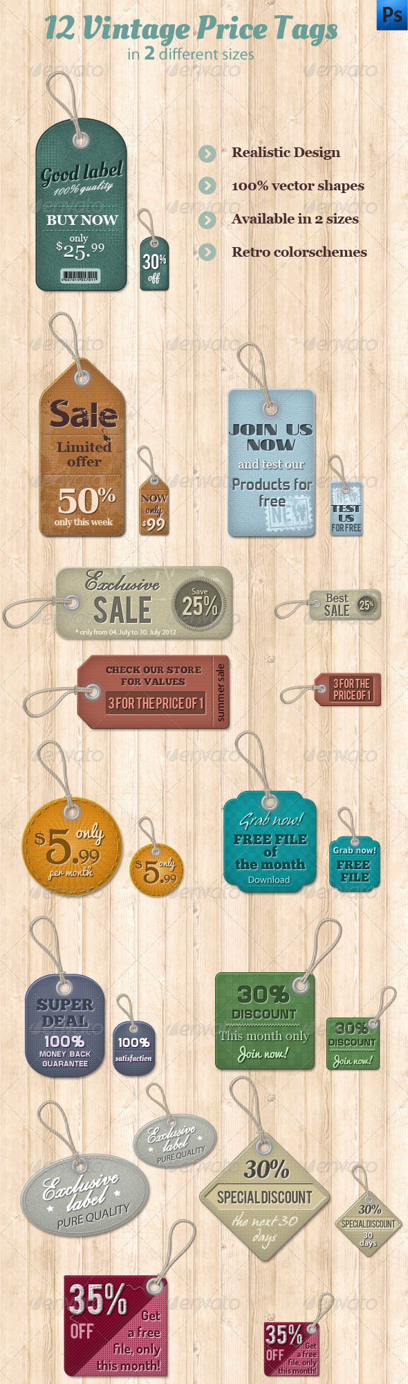 GraphicRiver 12 Vintage Price Tags 2533226