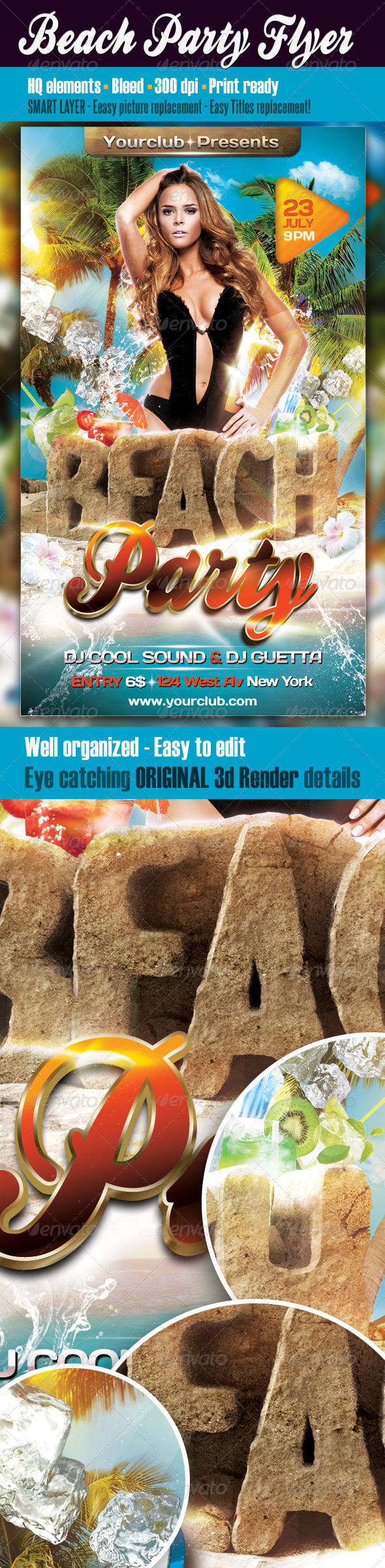 Flyers para Fiestas de Verano: Beach Party Flyer