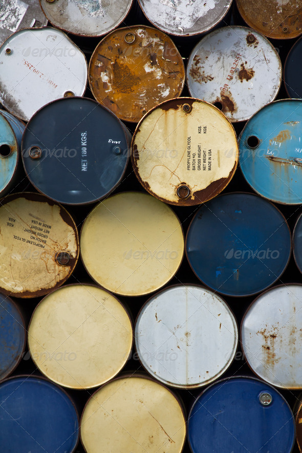 Old oil barrels - Stock Photo - Images
