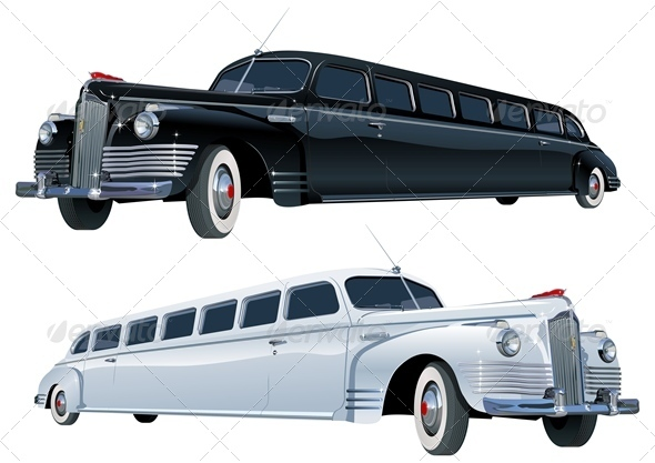 Vector Retro Limousine Set - Weddings Seasons/Holidays