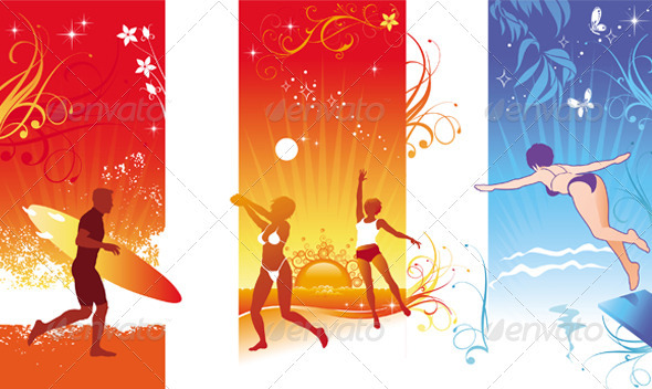 Vector Summer Beach Sports - Sports/Activity Conceptual