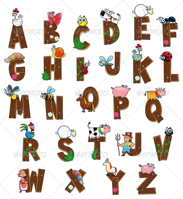 Alphabet with animals and farmers.  - Animals Characters