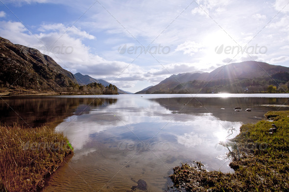 Loch Shiel Lake at Glenn Finnan Highlands Scotland - Stock Photo - Images