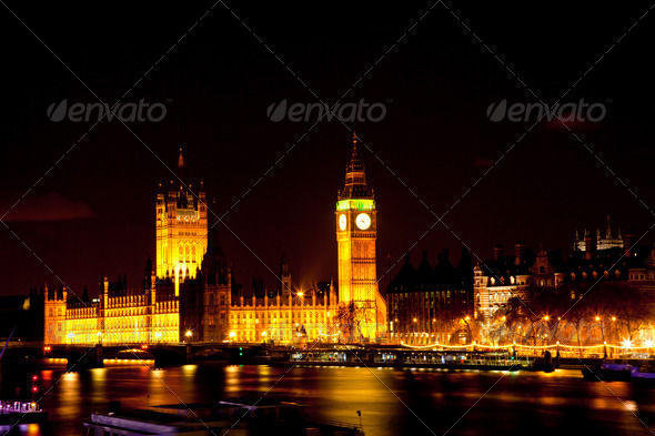 Big Ben at Night - Stock Photo - Images