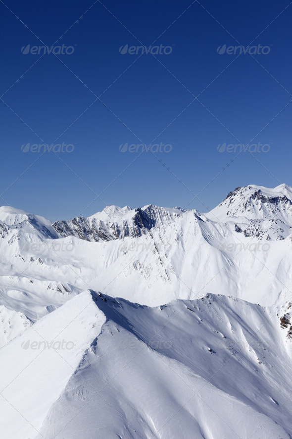 Winter mountains. Caucasus Mountains, Georgia, Gudauri. - Stock Photo - Images