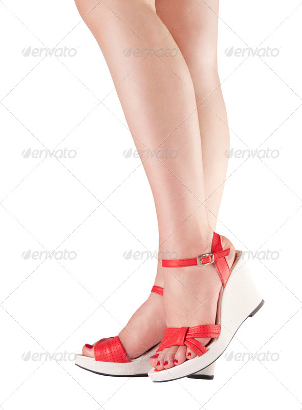 Sexy female legs isolated on white - Stock Photo - Images