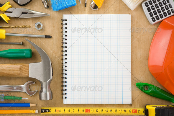 construction tools and notebook - Stock Photo - Images