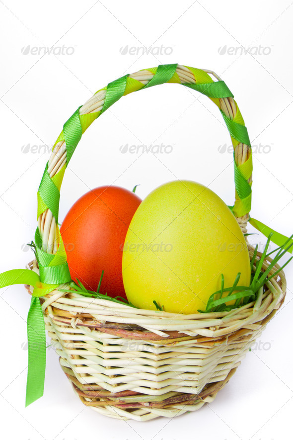 basket with easter eggs - Stock Photo - Images