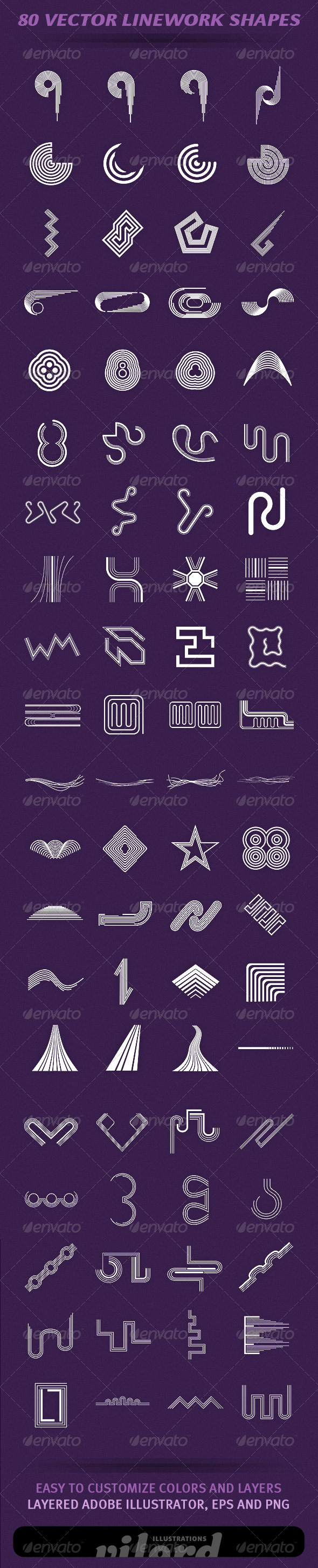 80 Vector Linework Shapes - Decorative Symbols Decorative