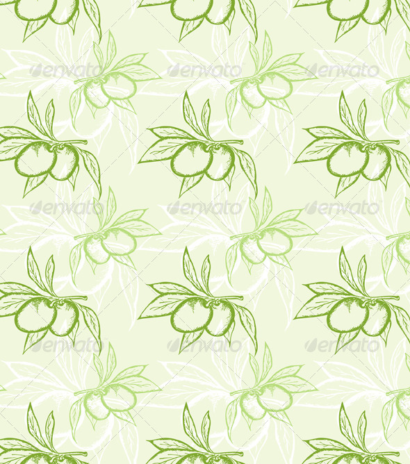 GraphicRiver Green Olive Seamless Pattern 2540517