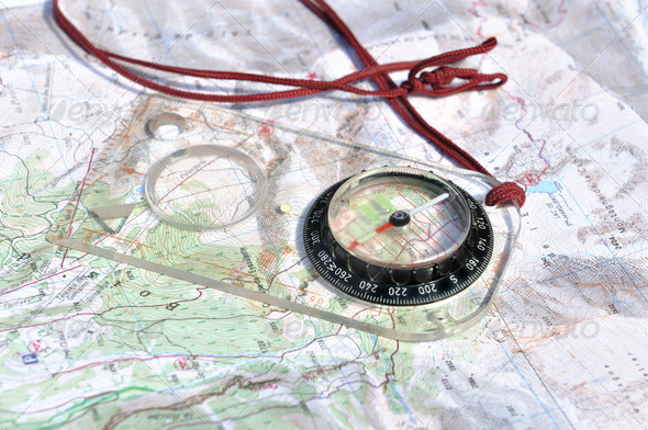 compass card on long hikes - Stock Photo - Images