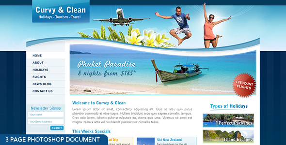 Curvy and Clean - 3 page photoshop document - Travel Retail