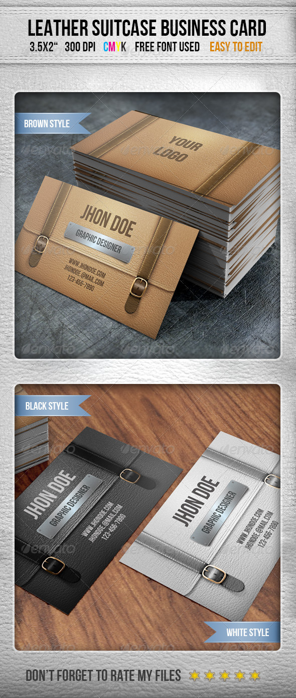 Leather Briefcase Business Card - Real Objects Business Cards