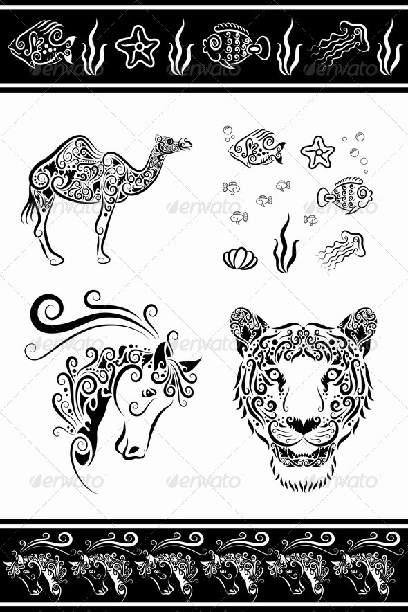 Animal ornaments (horse head, camel, fish, etc.) - Decorative Symbols Decorative