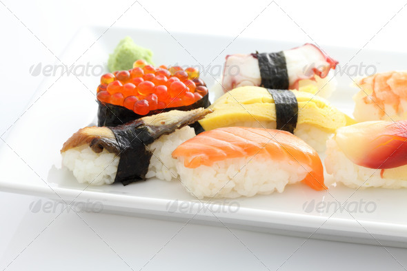 Sushi set in white background - Stock Photo - Images