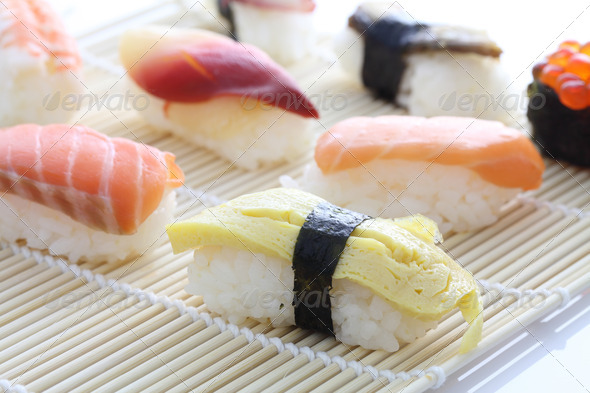 Sushi set in bamboo - Stock Photo - Images