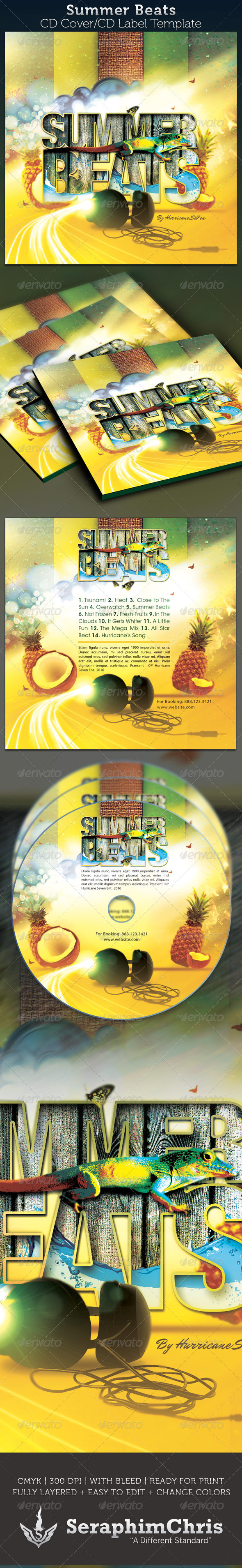 Summer Beats CD Artwork Template - CD &amp; DVD artwork Print Templates