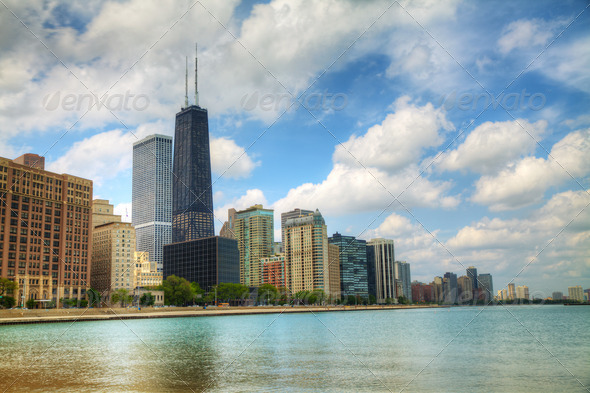 Downtown Chicago, IL in the sunny day - Stock Photo - Images