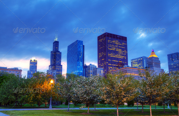 Downtown Chicago, IL in the evening - Stock Photo - Images