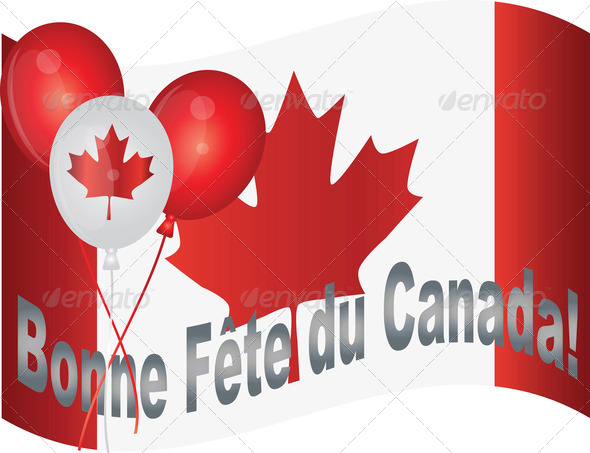 Happy Canada Day Flag and Balloons Illustration - Stock Photo - Images