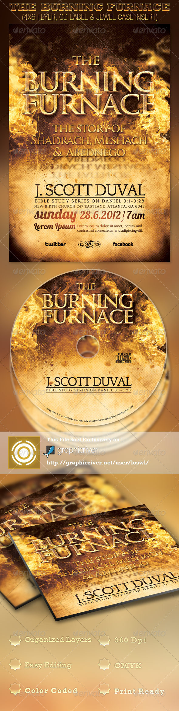 GraphicRiver The Burning Furnace Church Flyer and CD Template 2544959