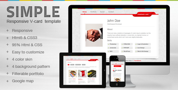ThemeForest Simple V-card Template 2460997