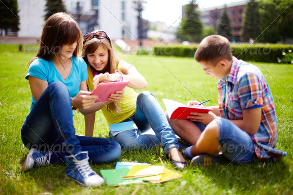 Homework outdoors - Stock Photo - Images