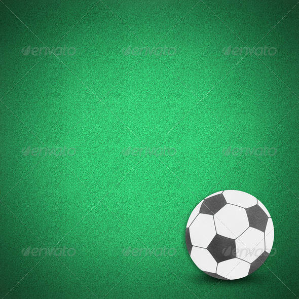 Football soccer ball green grass - Stock Photo - Images