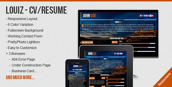 Louiz - CV/Resume Responsive Template + 3 Bonuses - Resume / CV Specialty Pages