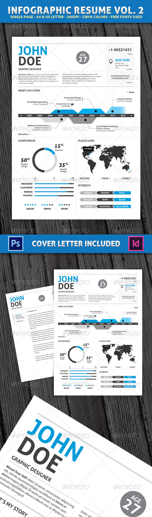 Infographic Resume with Cover Letter