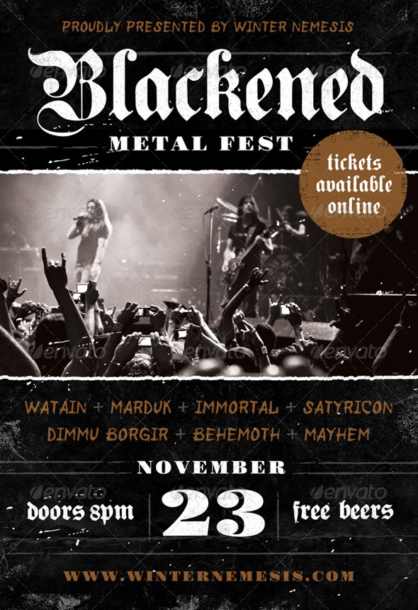 Blackened Metal Fest - Heavy Metal Flyer Template - Concerts Events