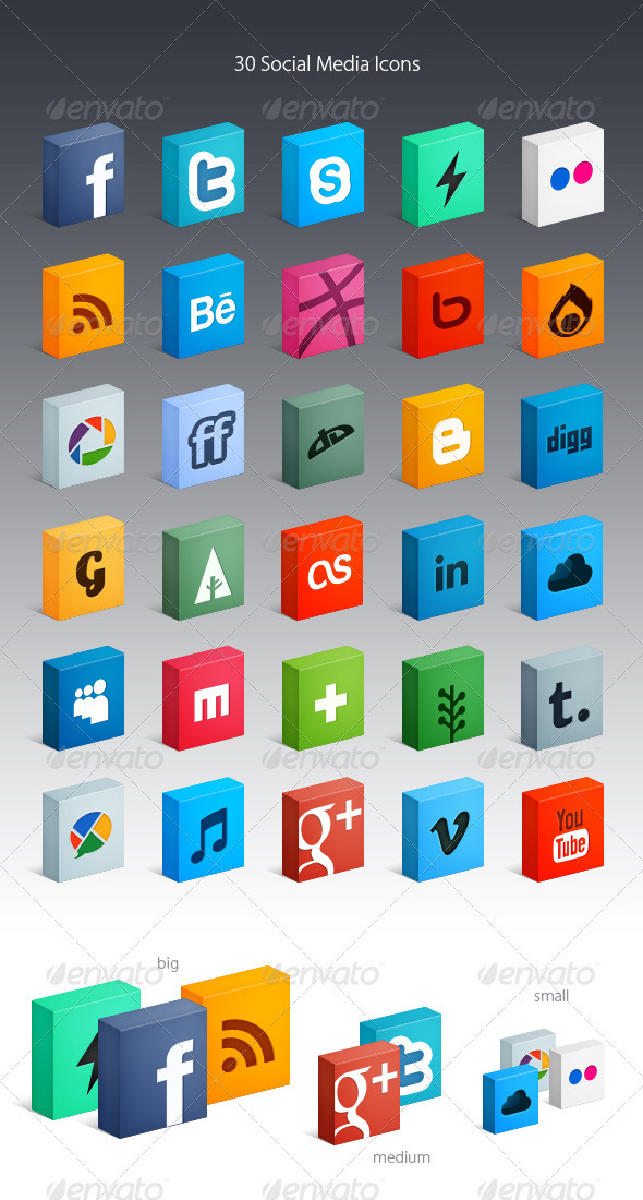 GraphicRiver 30 Social Media Icons 2548790