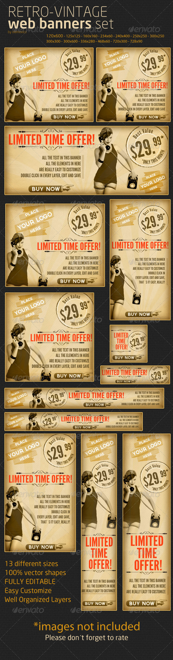 Retro-Vintage Web Banner Set - Banners & Ads Web Elements