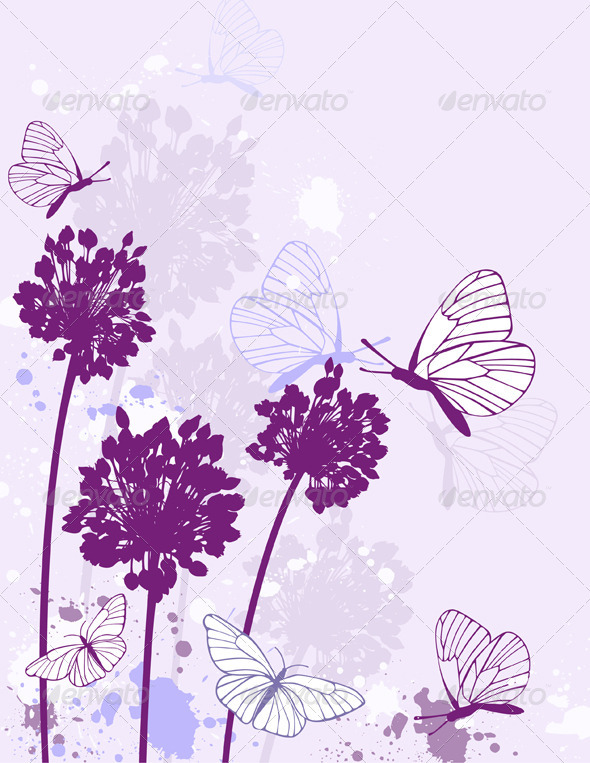 Violet Floral Background - Flowers & Plants Nature