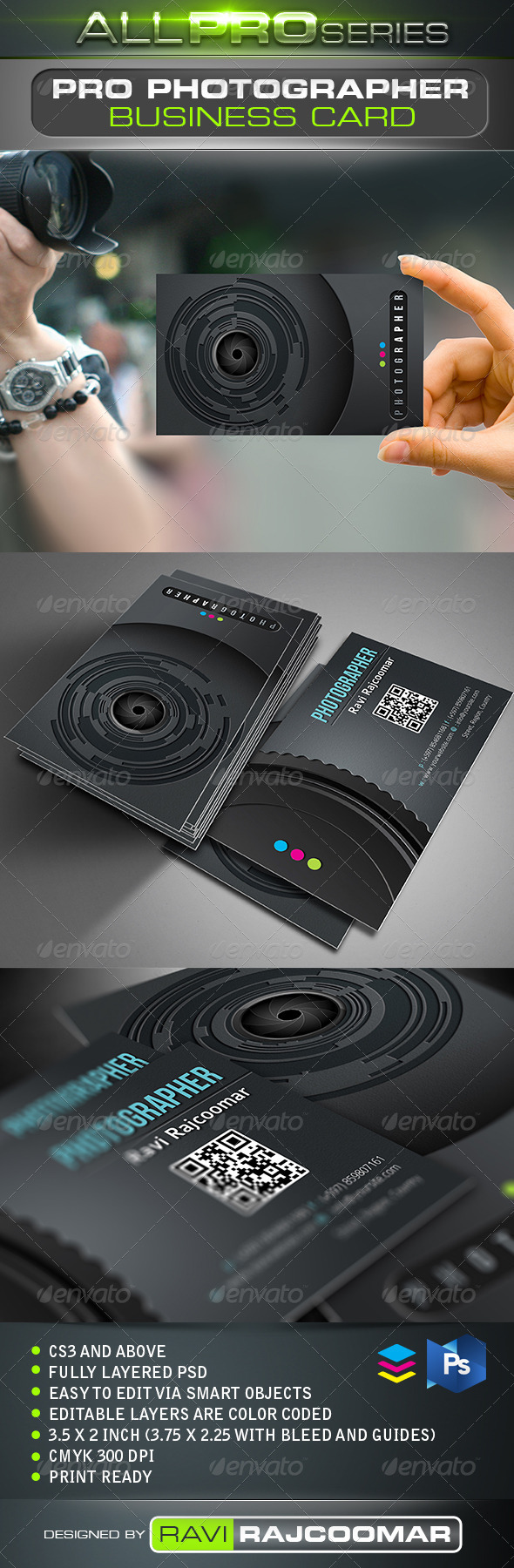 Pro Photographer Business Card - Industry Specific Business Cards