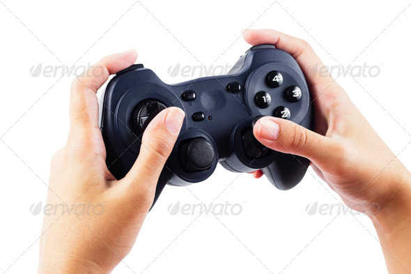 Play game with a joystick - Stock Photo - Images