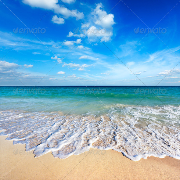 Beautiful beach and sea - Stock Photo - Images